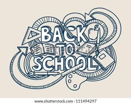 Back to school vector doodle. - stock vector