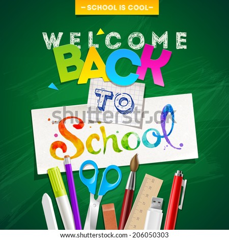 Back to school - vector illustration with stationery - stock vector