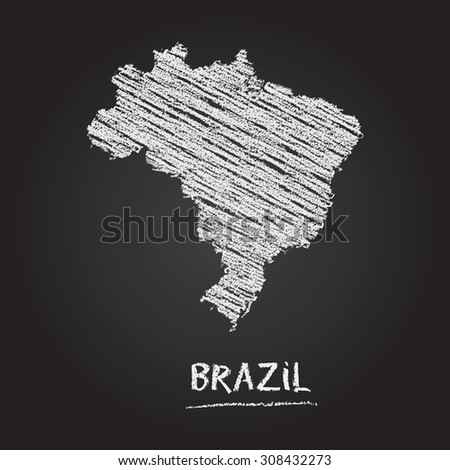 Back to school vector map of Brazil hand drawn with chalk on a blackboard. Chalkboard scribble in childish style. White chalk texture on black background - stock vector