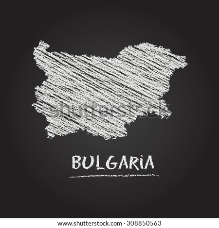 Back to school vector map of Bulgaria hand drawn with chalk on a blackboard. Chalkboard scribble in childish style. White chalk texture on black background - stock vector