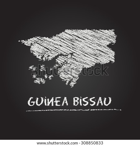 Back to school vector map of Guinea Bissau hand drawn with chalk on a blackboard. Chalkboard scribble in childish style. White chalk texture on black background - stock vector