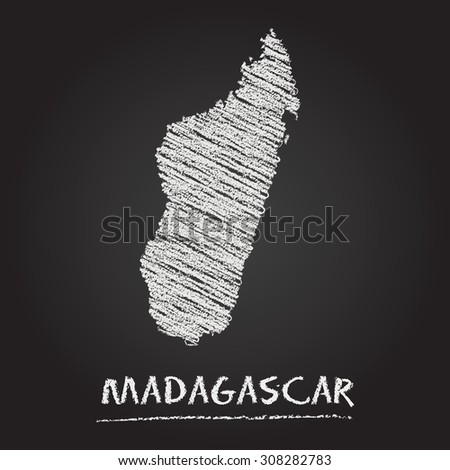 Back to school vector map of Madagascar hand drawn with chalk on a blackboard. Chalkboard scribble in childish style. White chalk texture on black background - stock vector