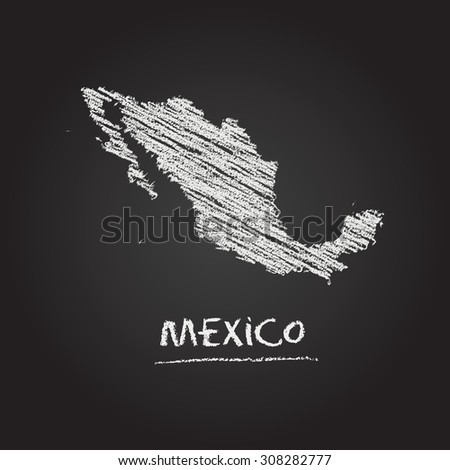 Back to school vector map of Mexico hand drawn with chalk on a blackboard. Chalkboard scribble in childish style. White chalk texture on black background - stock vector