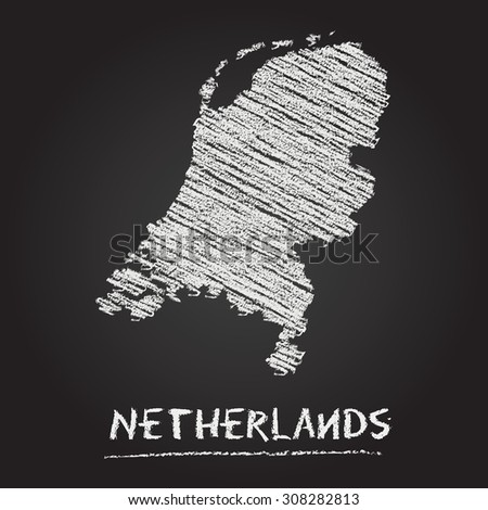 Back to school vector map of Netherlands hand drawn with chalk on a blackboard. Chalkboard scribble in childish style. White chalk texture on black background - stock vector
