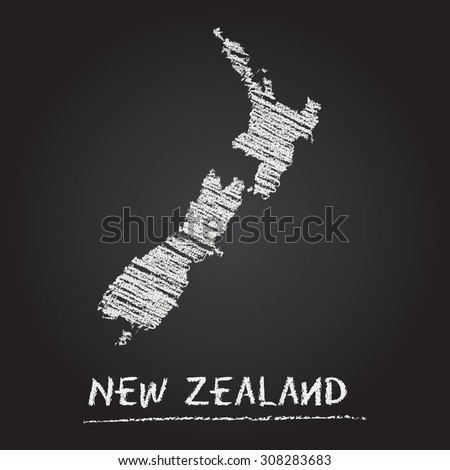 Back to school vector map of New Zealand hand drawn with chalk on a blackboard. Chalkboard scribble in childish style. White chalk texture on black background - stock vector