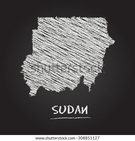 Back to school vector map of Sudan hand drawn with chalk on a blackboard. Chalkboard scribble in childish style. White chalk texture on black background - stock vector