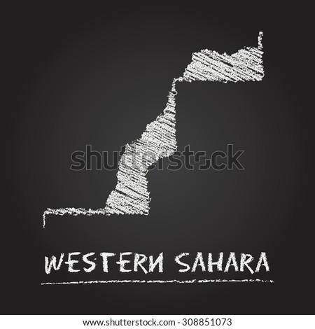 Back to school vector map of Western Sahara hand drawn with chalk on a blackboard. Chalkboard scribble in childish style. White chalk texture on black background - stock vector
