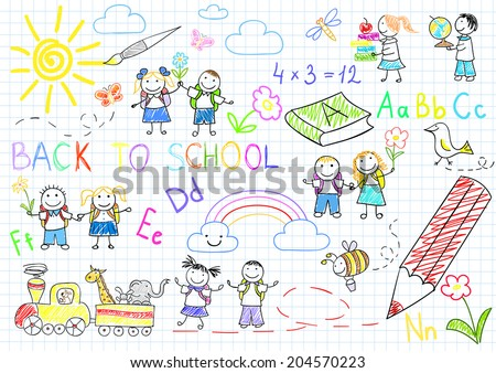 Back to school. Vector sketches with happy pupils. Sketch on notebook page - stock vector
