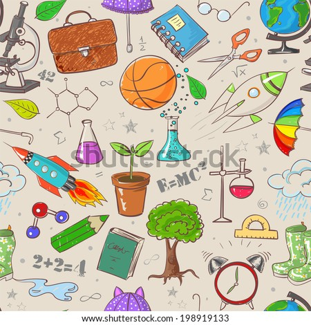 Back to school - vintage seamless background. Can be used for wallpaper, pattern fills, textile, web page background, surface textures. Vector illustration.  - stock vector