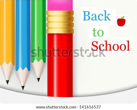 Back to School .with colorful pencil - stock vector
