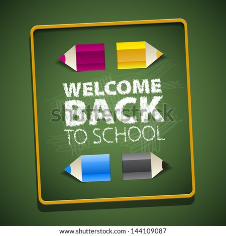 Back to School, with paper pencils, Vector eps10, green background - stock vector