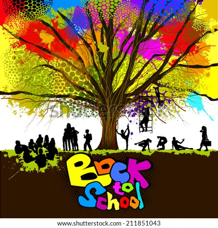 Back to school with rainbow tree. Vector  - stock vector