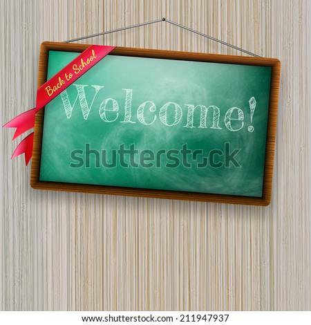 Back to school, written on blackboard with chalk. plus EPS10 vector file - stock vector
