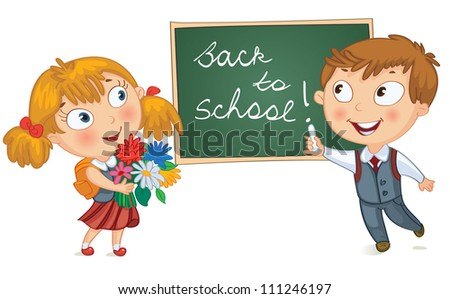 Back to school. Young boy wrote in chalk on blackboard. Little girl holding a bouquet of flowers. Vector illustration - stock vector