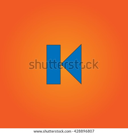 Back Track arrow Media player control button. Blue flat icon with black stroke on orange background. Collection concept vector pictogram for infographic project and logo - stock vector