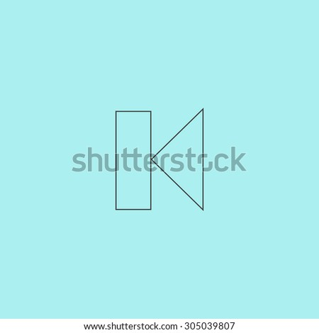 Back Track arrow Media player control button. Simple outline flat vector icon isolated on blue background - stock vector
