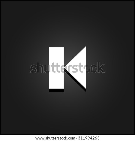 Back Track arrow Media player control button. White flat simple vector icon with shadow on a black background - stock vector
