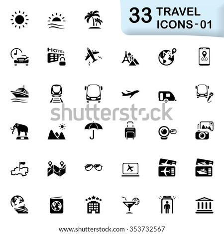 Back travel icons - stock vector