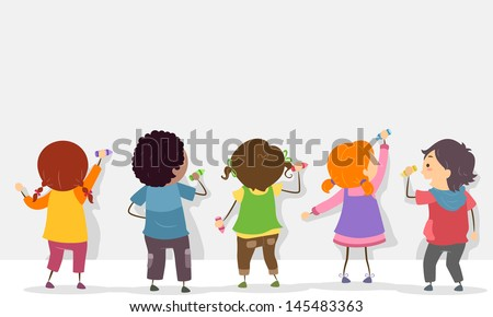 Back View Illustration of Stickman Kids Writing on a Blank Board with Crayons - stock vector