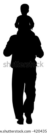 Back view of father carrying his son on shoulders, vector silhouette illustration isolated on white background. Young father spend time with his son. father carrying his son, fathers day, boy in walk. - stock vector