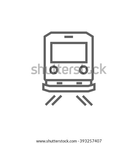Back view of train line icon. - stock vector