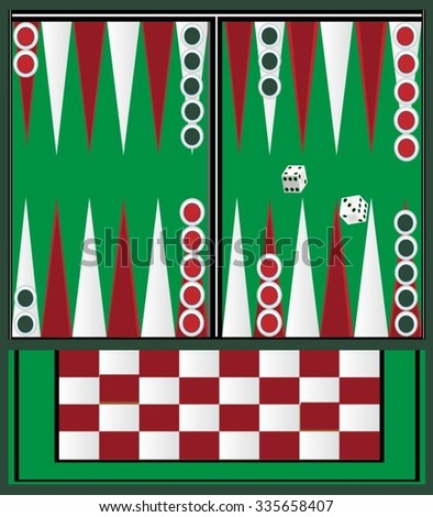 Backgammon table with green and red - stock vector