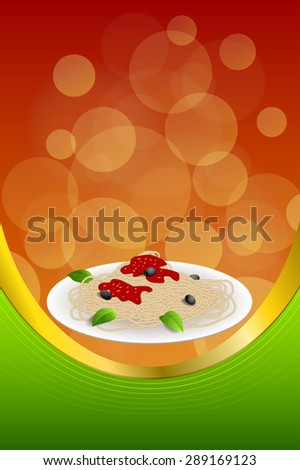 Background abstract food pasta spaghetti Italy green red yellow frame vertical gold ribbon illustration vector - stock vector