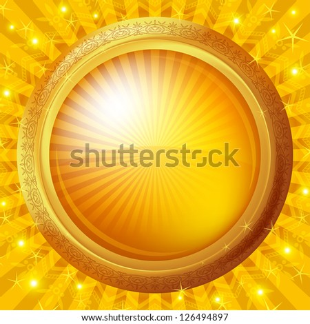 Background, abstract gold button with round glossy banner and frame, eps10, contains transparencies. Vector - stock vector