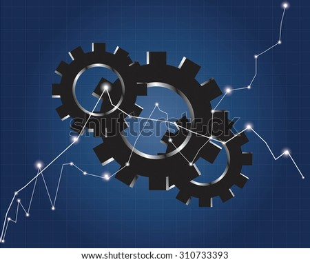 Background and gears Business mechanism concept stock market chart - stock vector