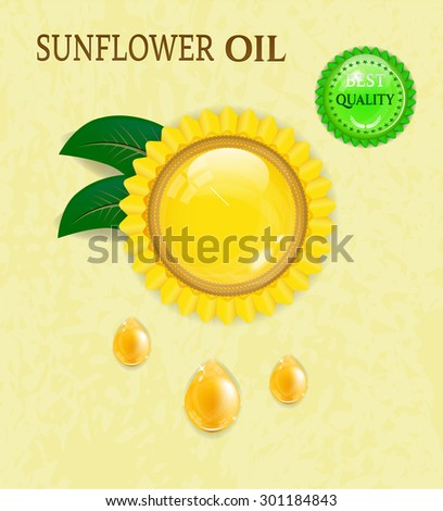 Background, backdrop, poster with sunflower with green leaves, golden, oil drops, budge with text, beige background - stock vector