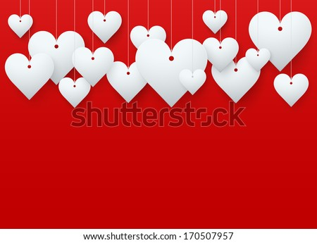 Background beautiful red heart on white paper. Vector illustration. Love or medicine theme. Editable and isolated. - stock vector