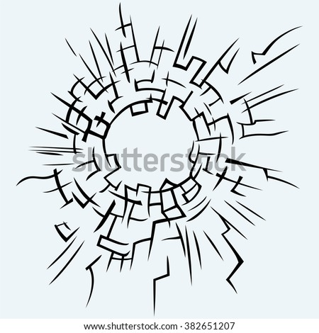 Background broken glass. Isolated on blue background. Vector silhouettes - stock vector