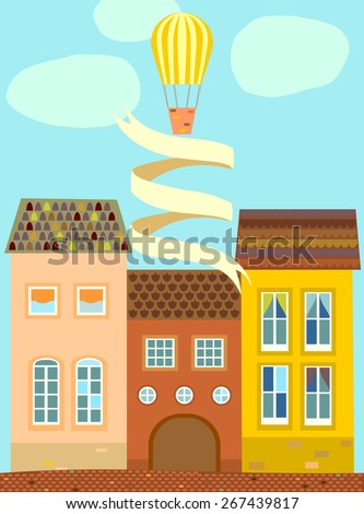 Background, card, poster with old houses with tiled roof, balloons, clouds & ribbon. Vector. - stock vector