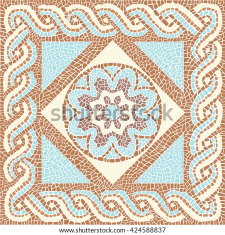 Background color mosaic in the ancient style Stock vector illustration - stock vector