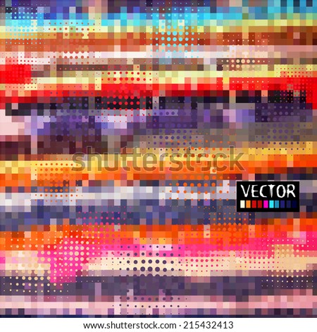 Background color mosaic of squares and circles. Vector  - stock vector
