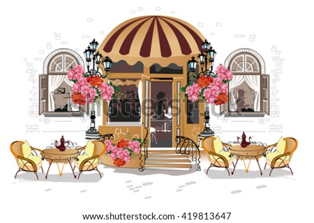 Background decorated with flowers, old town views and street cafe. Hand drawn Vector Illustration. - stock vector