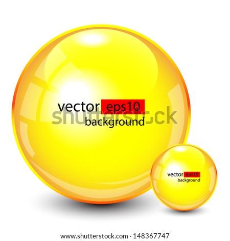 Background design, 3d yellow spheres on white, vector - stock vector