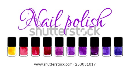 Background for beauty salon with watercolor painted nail polishes - stock vector