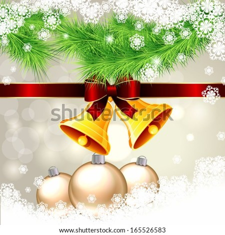 background for christmas with bells and fir branches - stock vector