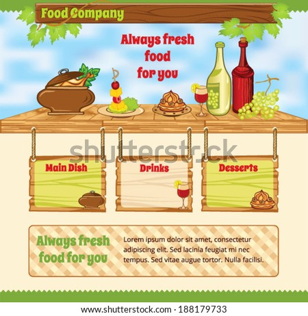 Background for food template - stock vector