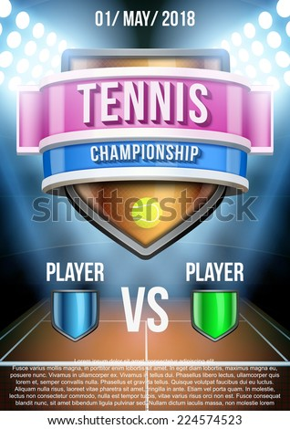 Background for posters tennis stadium game announcement. Editable Vector Illustration. - stock vector