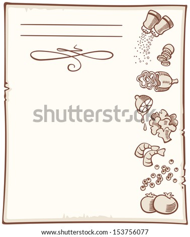background for recipes with hand-drawn food - stock vector
