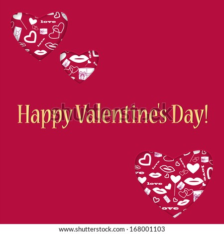 background for Valentine's Day.hearts of different sizes with a white pattern.red background with hearts and golden greeting inscription.vector - stock vector