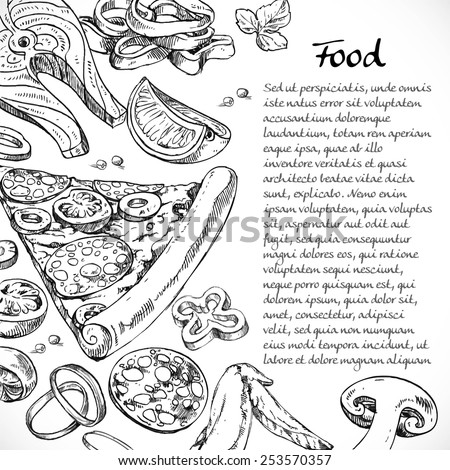 Background for your text with doodles on the subject of food - pizza, vegetables, seafood - stock vector