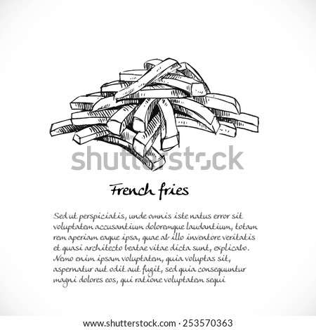 Background for your text with doodles on the theme of fast food - French fries - stock vector