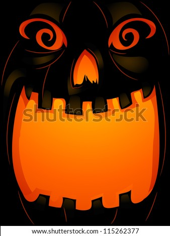 Background Halloween Illustration of a Jack-o'-Lantern with its Mouth Wide Open - stock vector