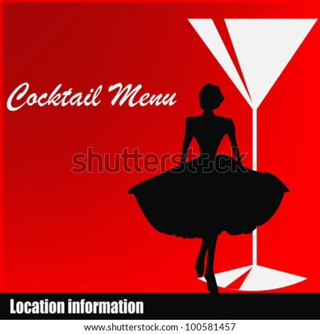 Background illustration for a cocktail bar menu with a 1950's feel - stock vector