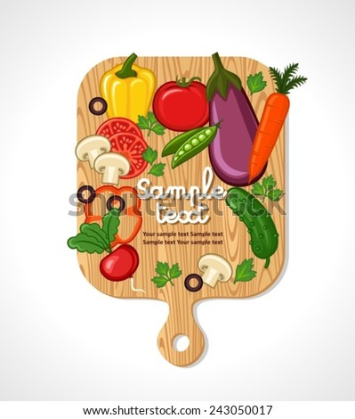 Background Illustration of a Wooden Chopping Board with Vegetables - stock vector