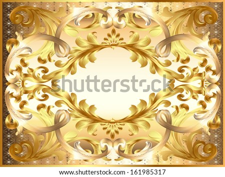 background illustration painting frame, with ornaments of gold - stock vector