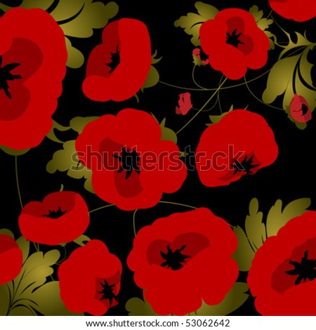 Background illustration with poppies over black - stock vector